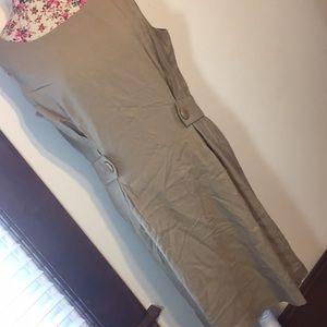 Talbots Petite brand 16 tan jumper dress NWT